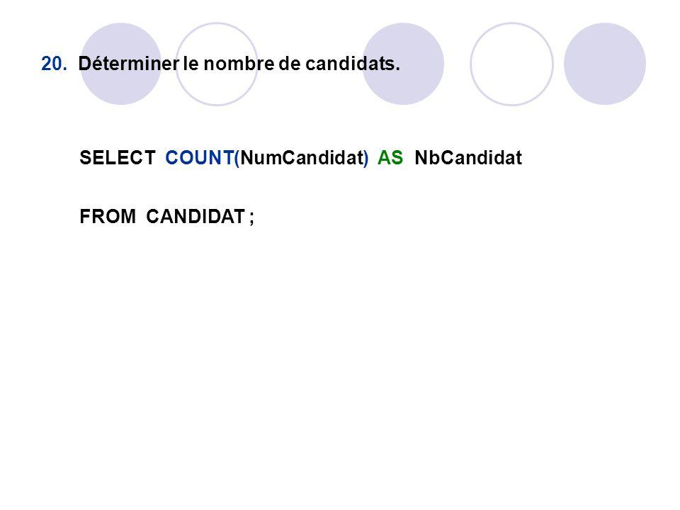 20. Déterminer le nombre de candidats.