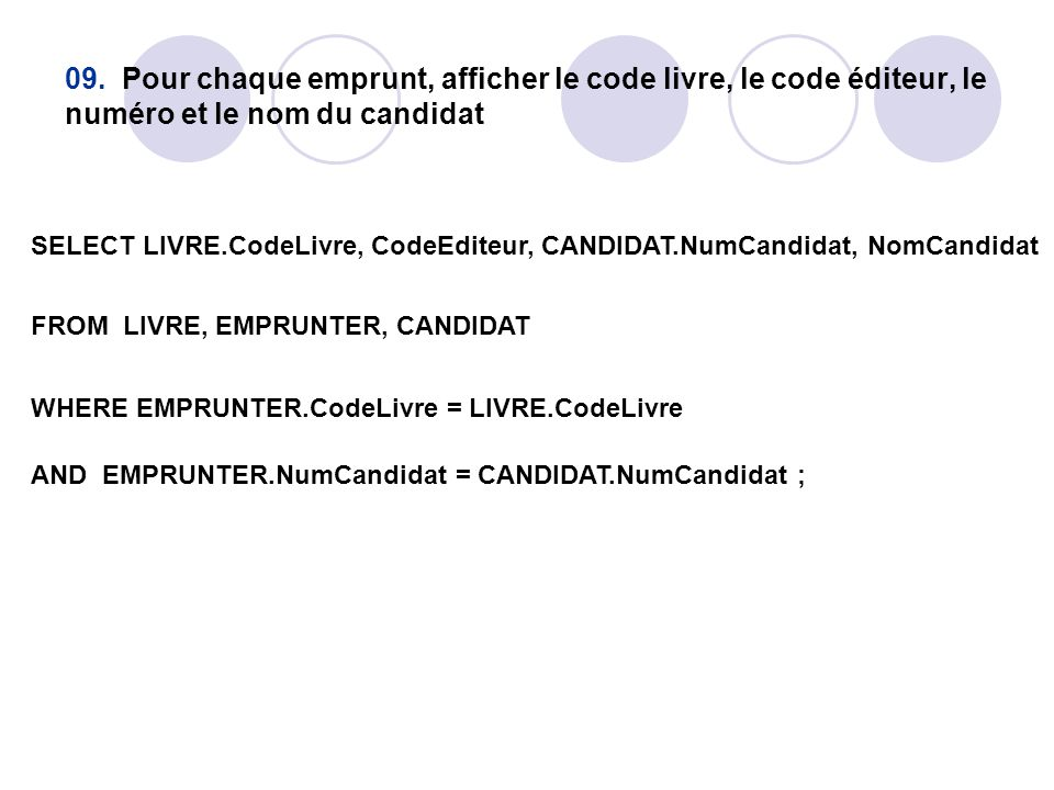 09. Pour chaque emprunt, afficher le code livre, le code éditeur, le numéro et le nom du candidat