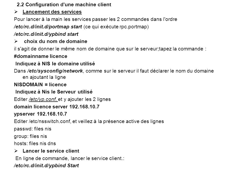 2.2 Configuration d une machine client