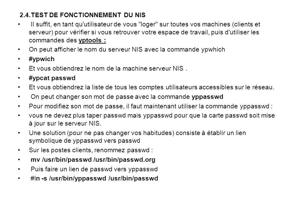 2.4.TEST DE FONCTIONNEMENT DU NIS