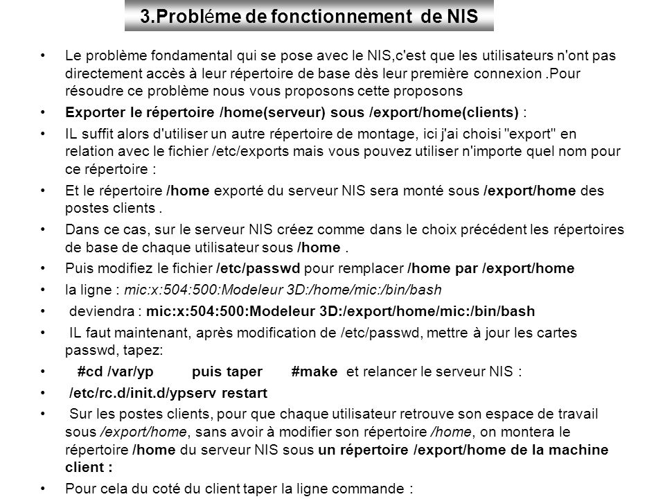 3.Probléme de fonctionnement de NIS