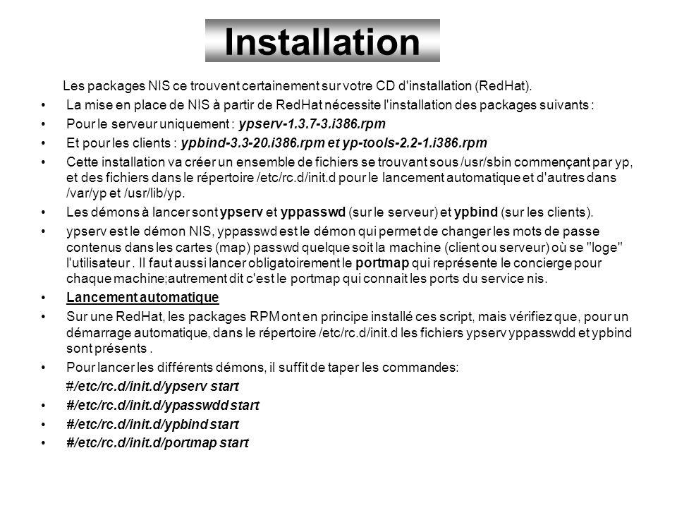 Installation Les packages NIS ce trouvent certainement sur votre CD d installation (RedHat).