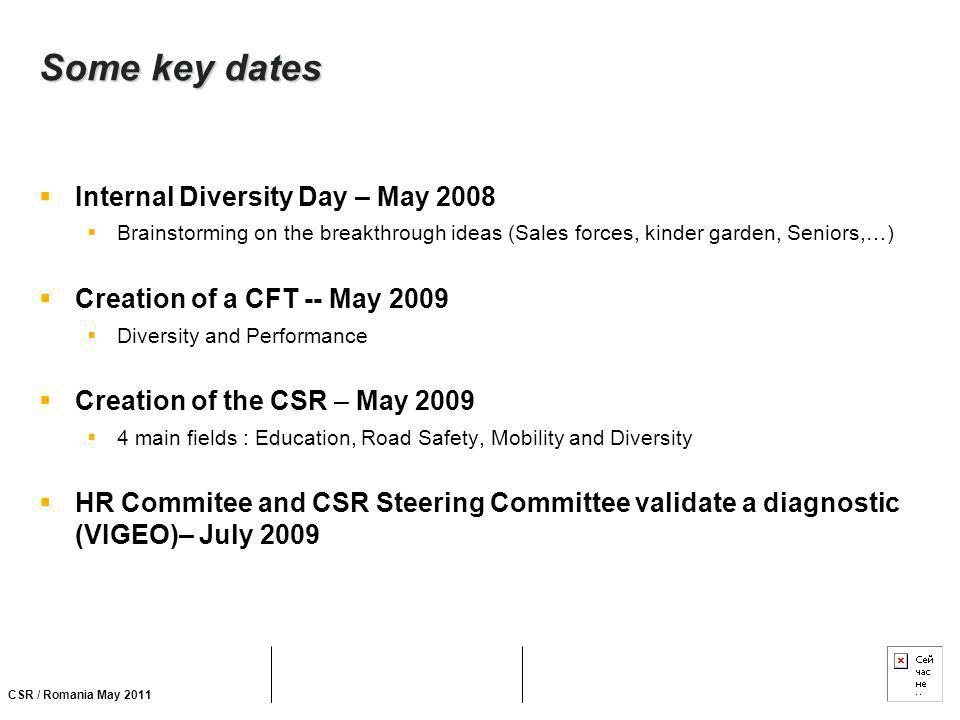 Some key dates Internal Diversity Day – May 2008