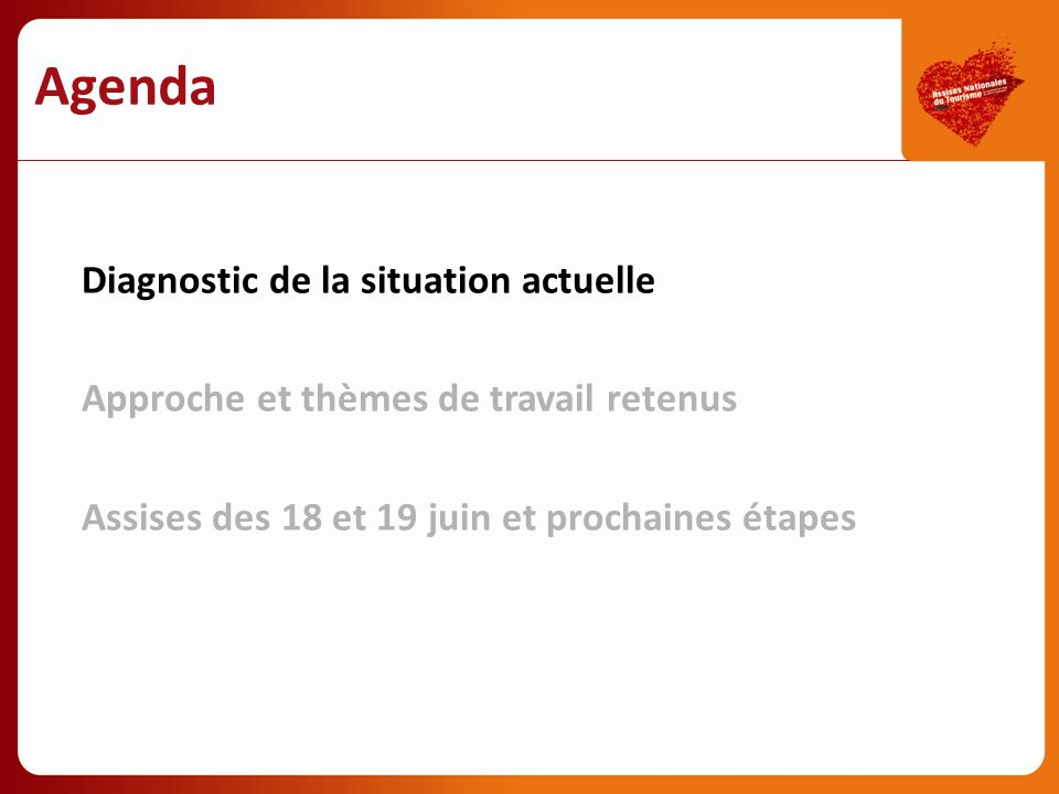 Agenda Diagnostic de la situation actuelle