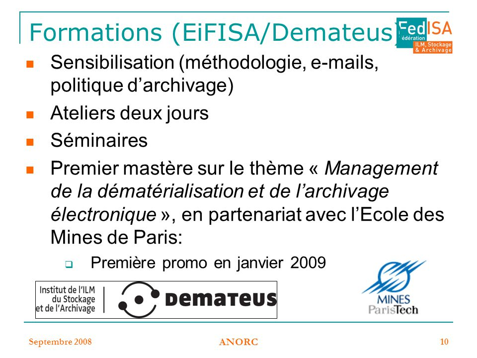 Formations (EiFISA/Demateus)