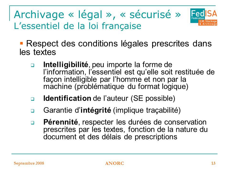 Archivage « légal », « sécurisé » L'essentiel de la loi française