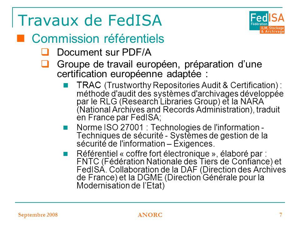 Travaux de FedISA Commission référentiels Document sur PDF/A