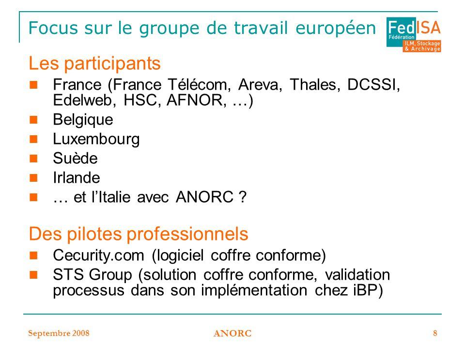 Focus sur le groupe de travail européen