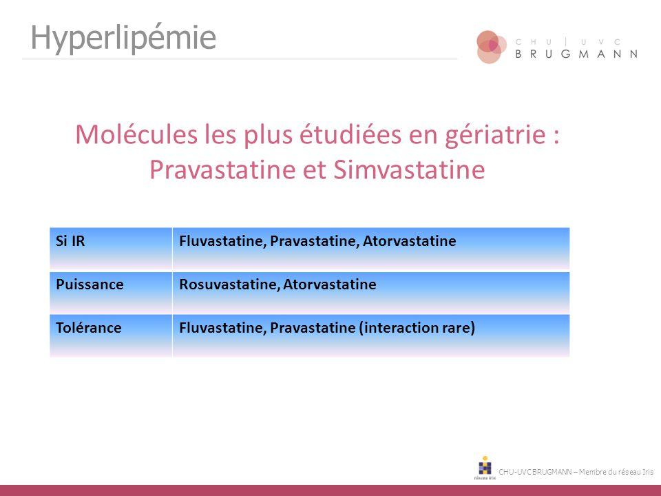 Hyperlipémie Molécules les plus étudiées en gériatrie : Pravastatine et Simvastatine. Si IR. Fluvastatine, Pravastatine, Atorvastatine.