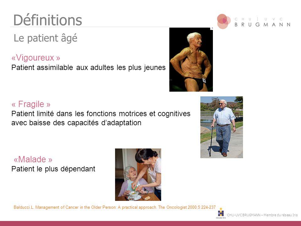 Définitions Le patient âgé «Vigoureux » « Fragile » «Malade »