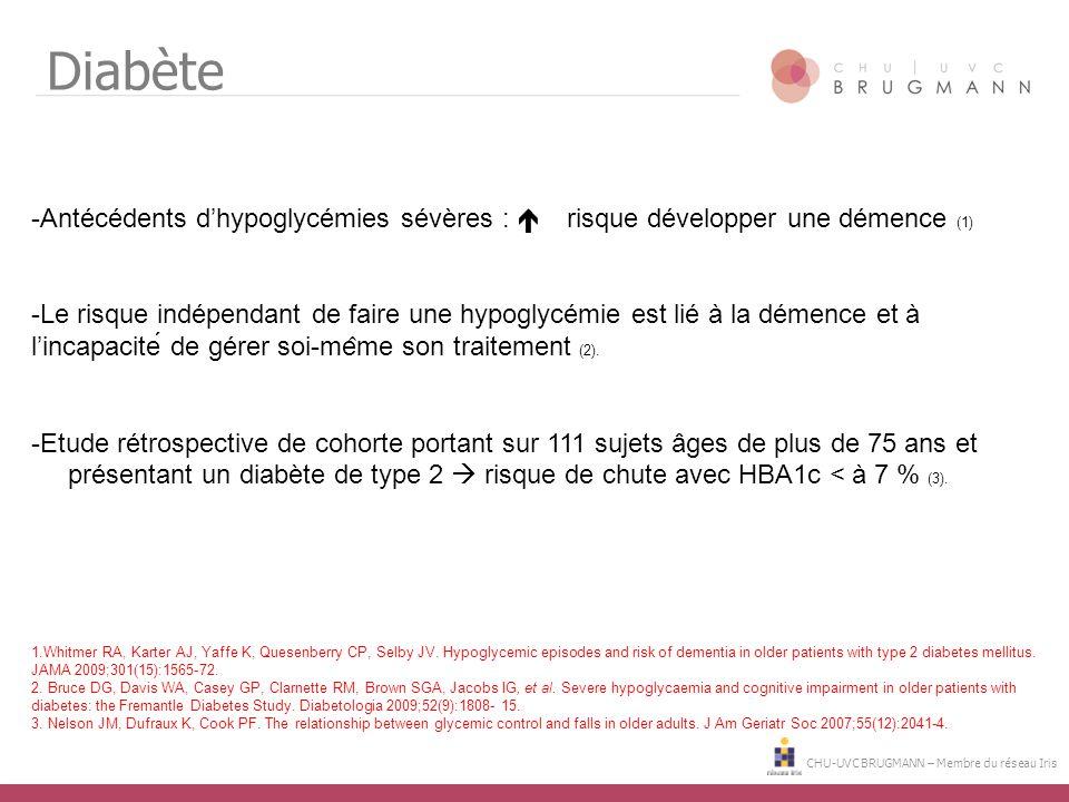 Diabète Antécédents d'hypoglycémies sévères :  risque développer une démence (1)