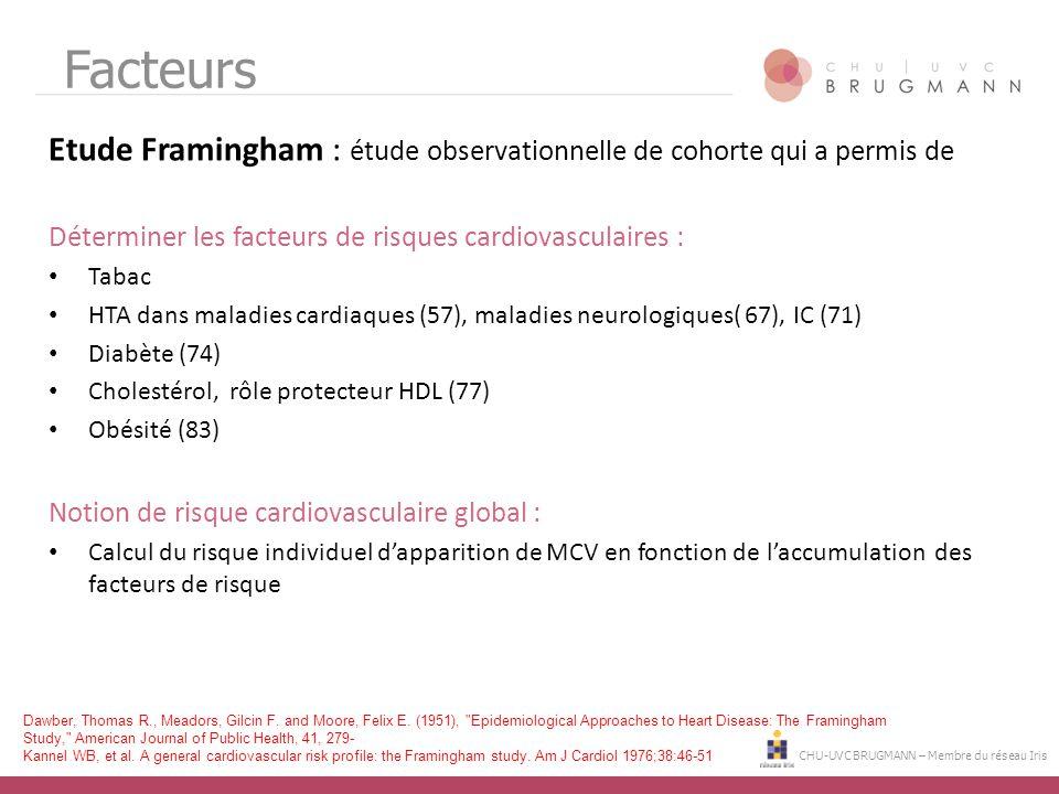 Facteurs Etude Framingham : étude observationnelle de cohorte qui a permis de. Déterminer les facteurs de risques cardiovasculaires :