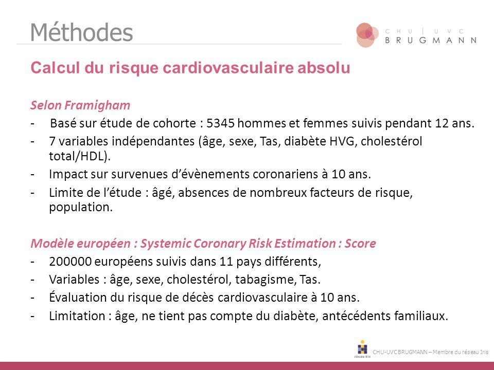 Méthodes Calcul du risque cardiovasculaire absolu Selon Framigham