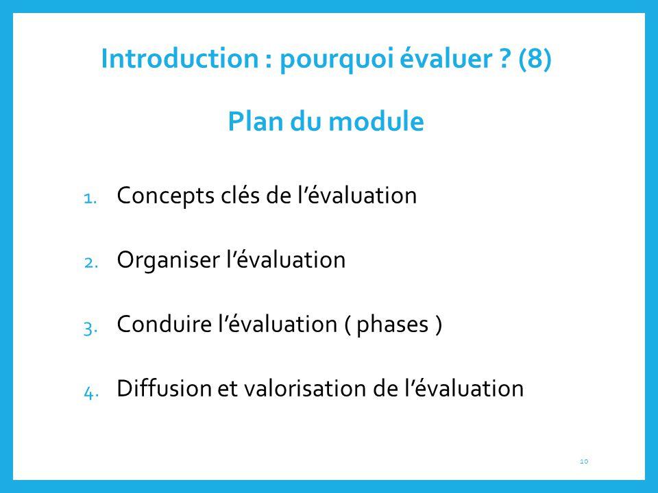 Introduction : pourquoi évaluer (8) Plan du module