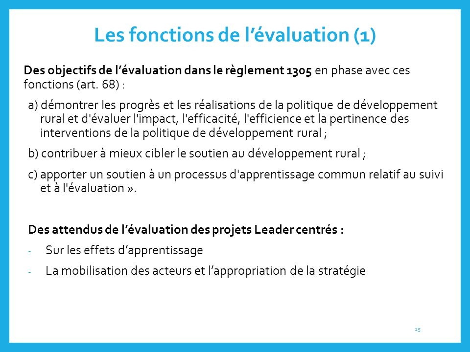 Les fonctions de l'évaluation (1)