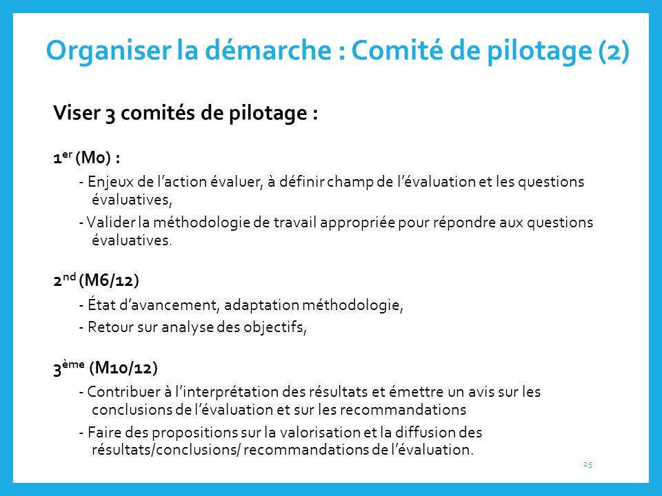 Organiser la démarche : Comité de pilotage (2)