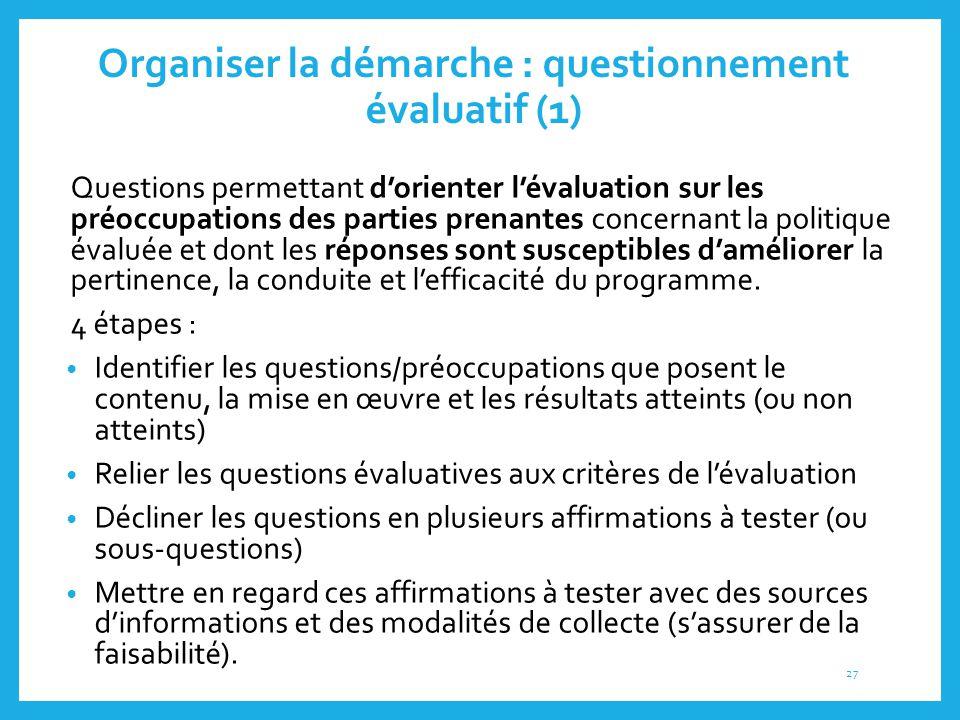 Organiser la démarche : questionnement évaluatif (1)