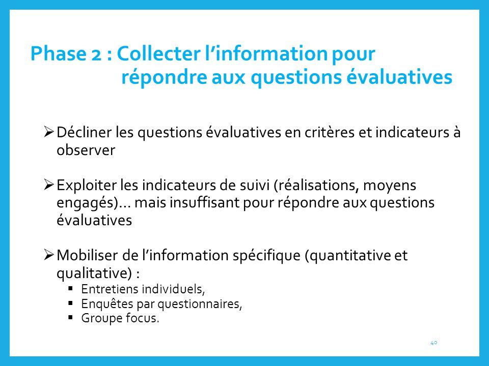 Phase 2 : Collecter l'information pour répondre aux questions évaluatives