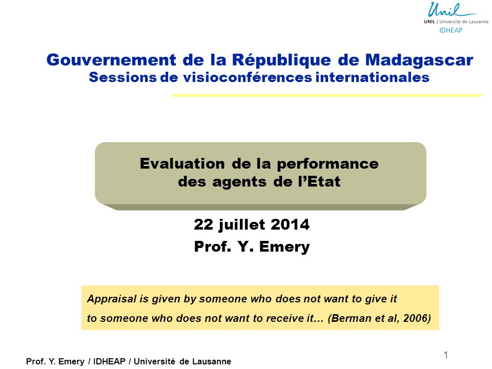Evaluation de la performance des agents de l'Etat