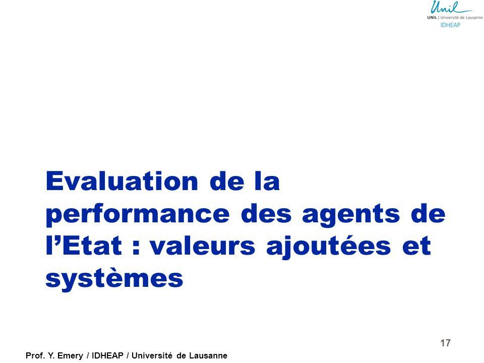 Evaluation de la performance des agents de l'Etat : valeurs ajoutées et systèmes