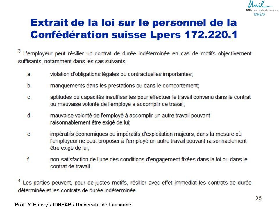 Extrait de la loi sur le personnel de la Confédération suisse Lpers 172.220.1