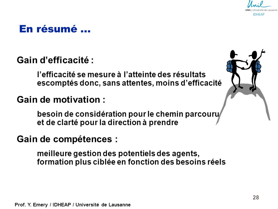 En résumé ... Gain d'efficacité : Gain de motivation :