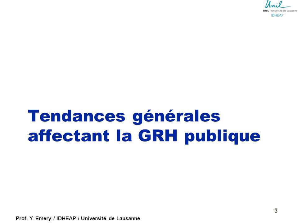 Tendances générales affectant la GRH publique