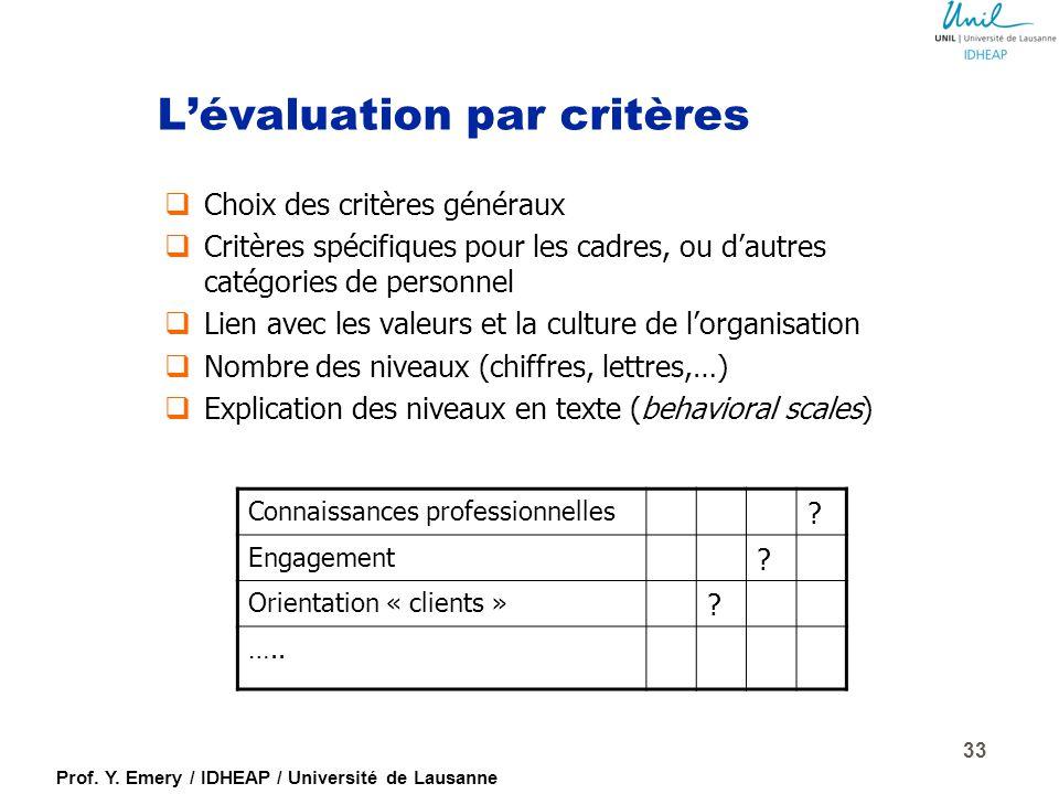 L'évaluation par critères