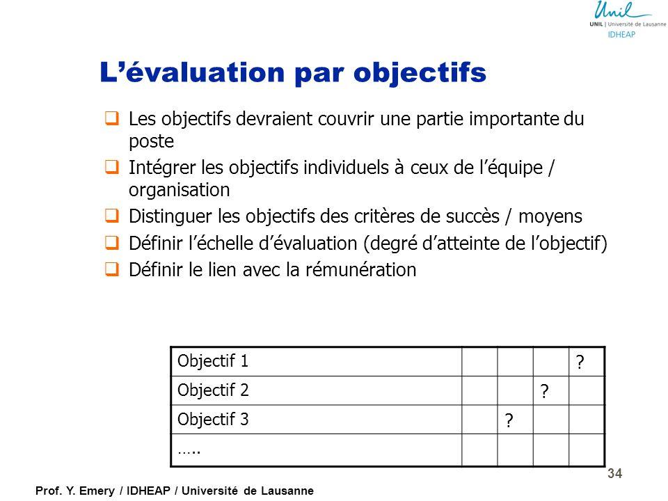 L'évaluation par objectifs