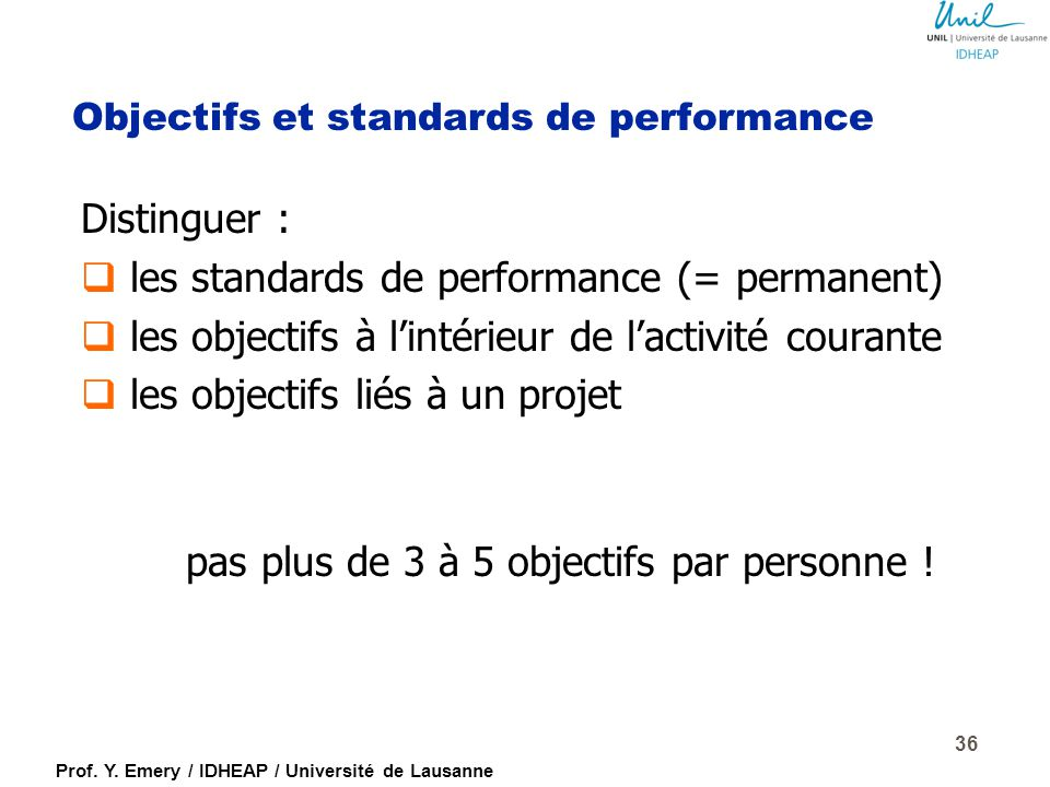 Objectifs et standards de performance