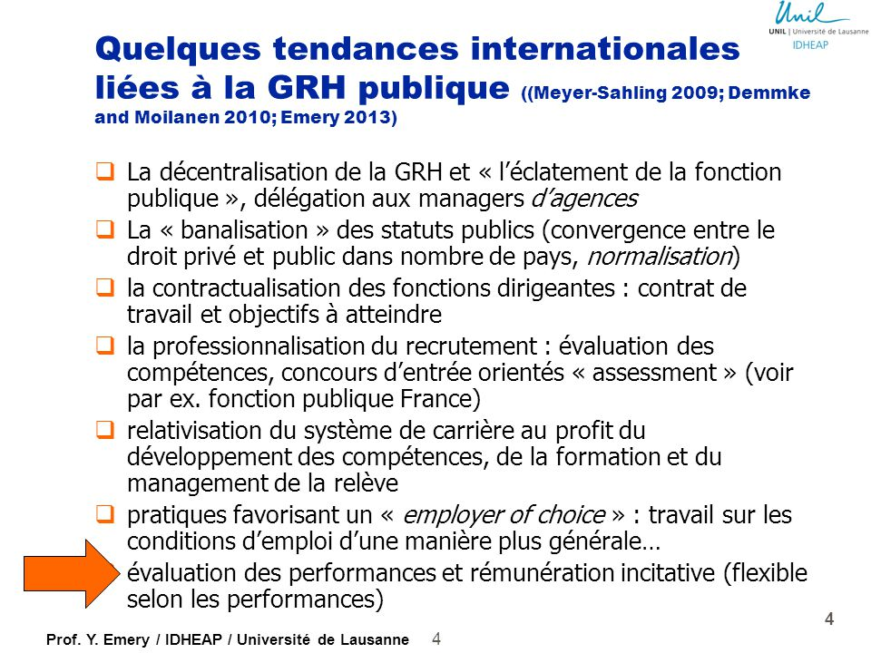 Quelques tendances internationales liées à la GRH publique ((Meyer-Sahling 2009; Demmke and Moilanen 2010; Emery 2013)