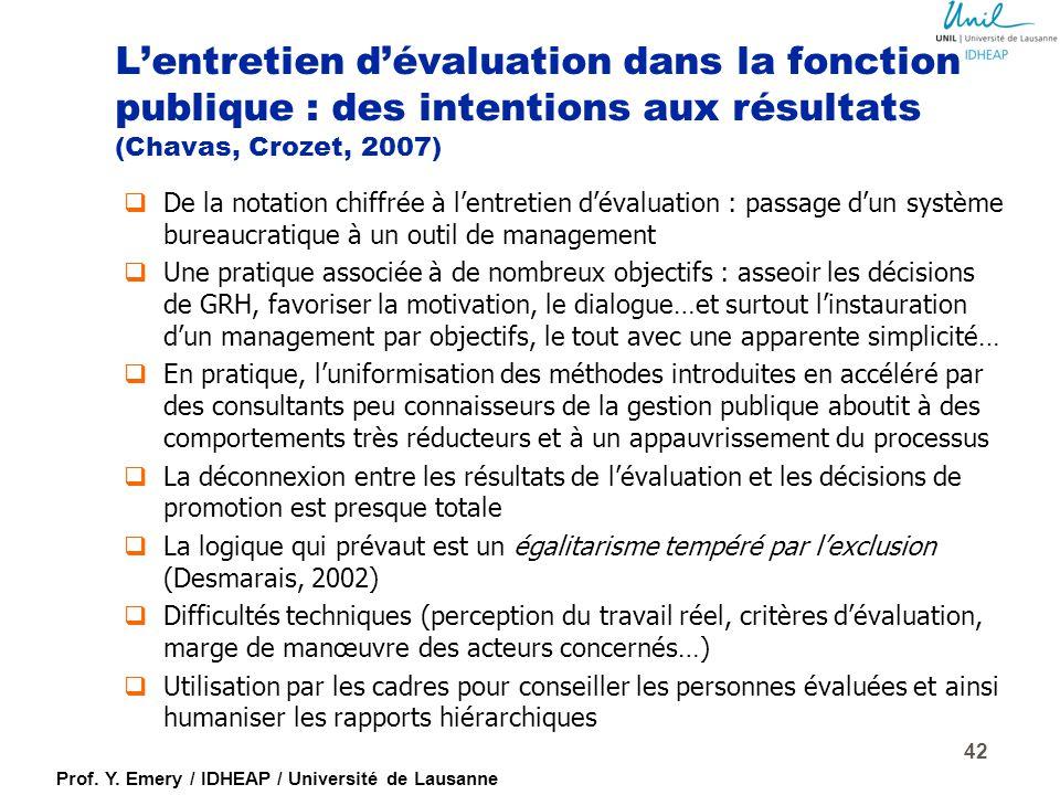 L'entretien d'évaluation dans la fonction publique : des intentions aux résultats (Chavas, Crozet, 2007)