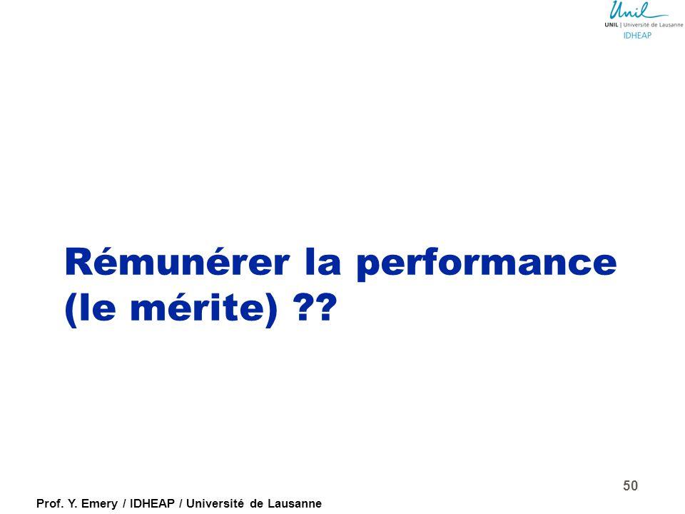 Rémunérer la performance (le mérite)