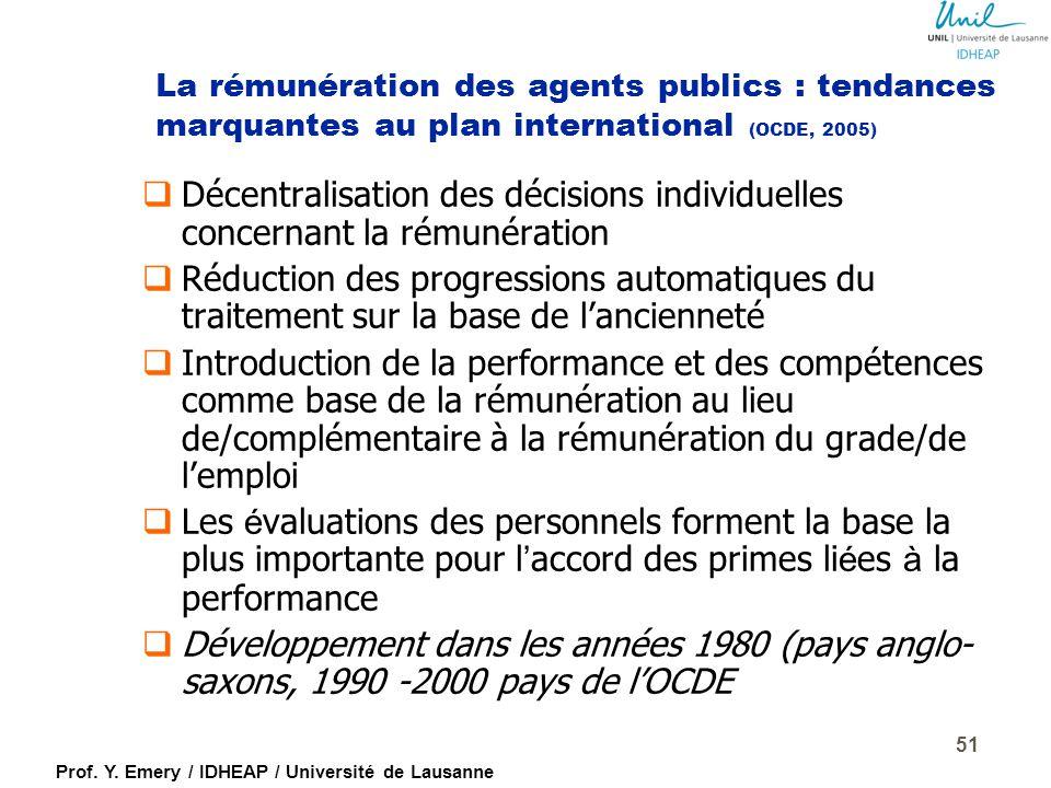 La rémunération des agents publics : tendances marquantes au plan international (OCDE, 2005)