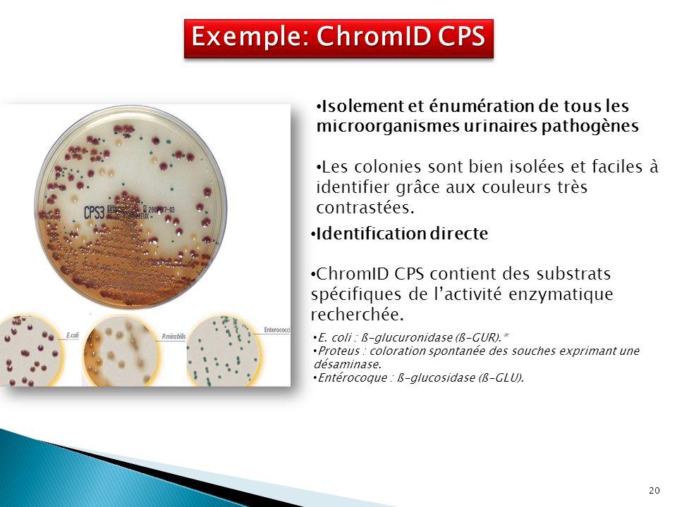 Exemple: ChromID CPS Isolement et énumération de tous les microorganismes urinaires pathogènes.
