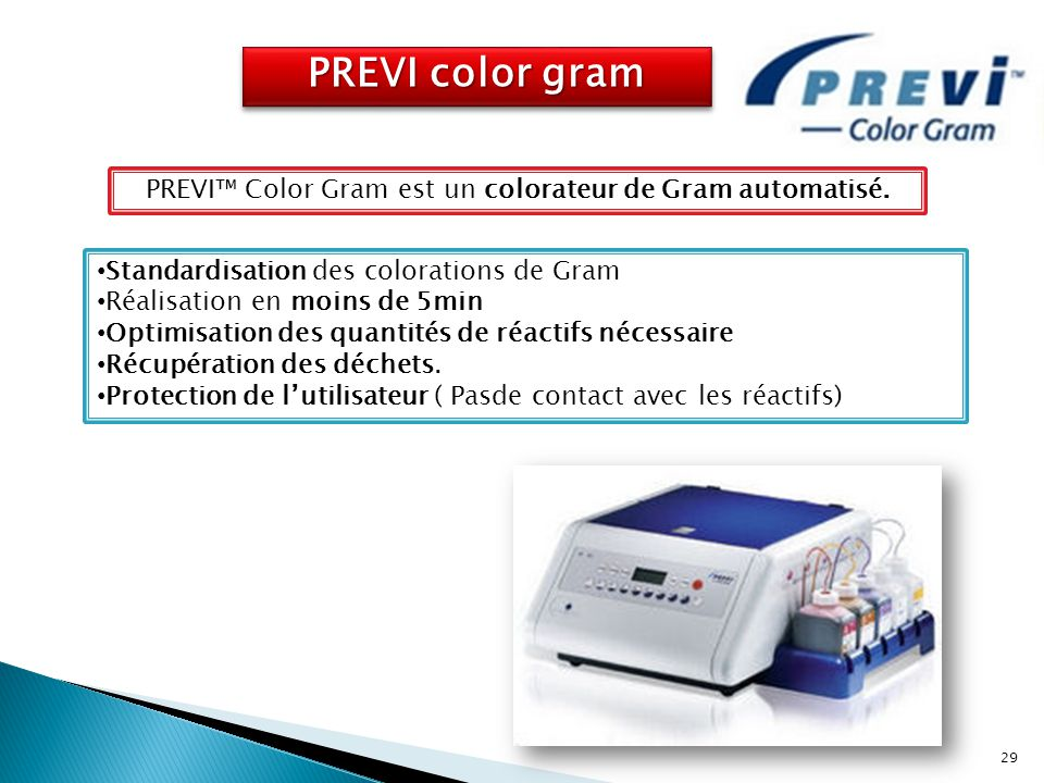 PREVI™ Color Gram est un colorateur de Gram automatisé.