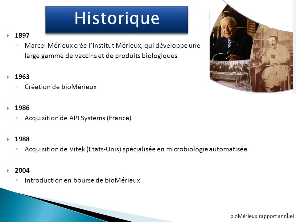 Historique 1897. Marcel Mérieux crée l'Institut Mérieux, qui développe une. large gamme de vaccins et de produits biologiques.