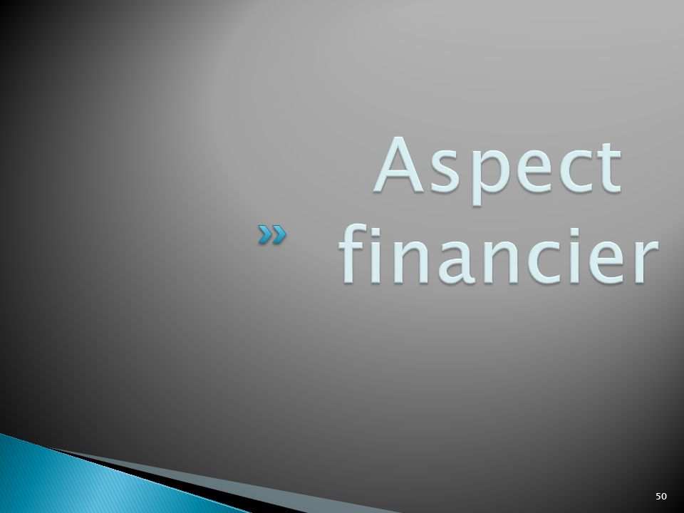 Aspect financier