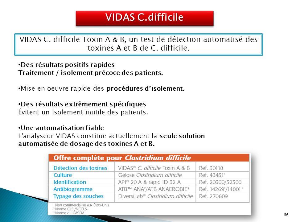 VIDAS C.difficile VIDAS C. difficile Toxin A & B, un test de détection automatisé des toxines A et B de C. difficile.