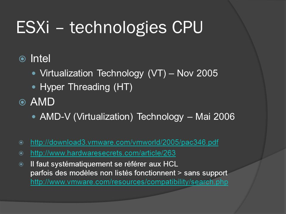 ESXi – technologies CPU