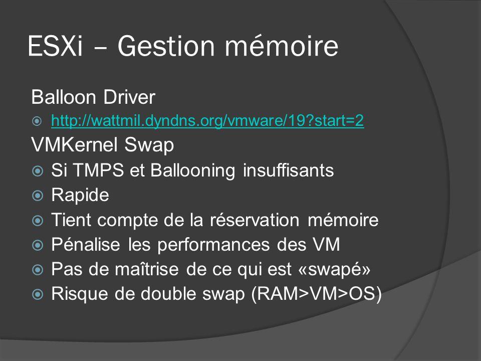 ESXi – Gestion mémoire Balloon Driver VMKernel Swap