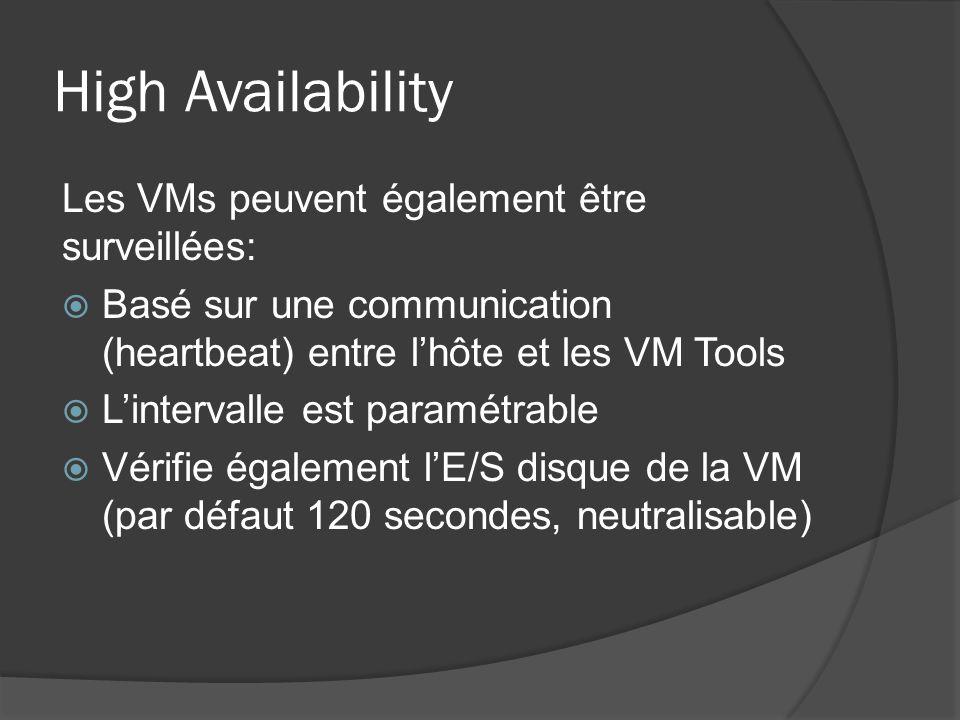 High Availability Les VMs peuvent également être surveillées: