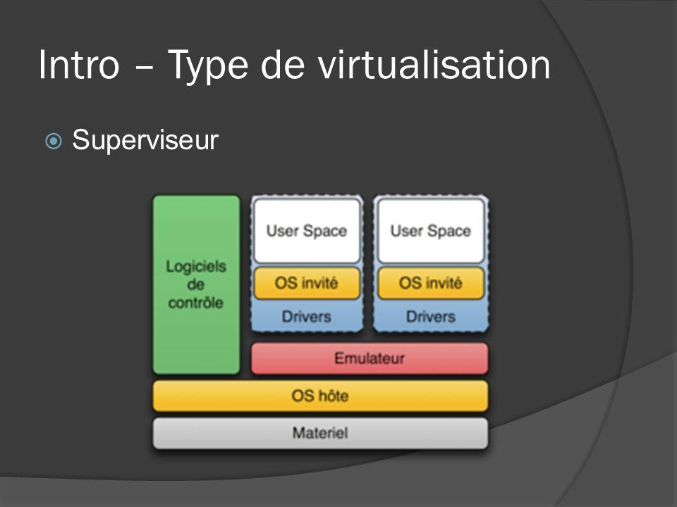 Intro – Type de virtualisation