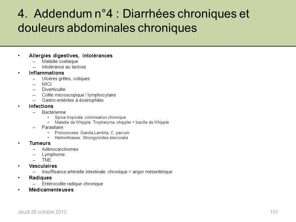 4. Addendum n°4 : Diarrhées chroniques et douleurs abdominales chroniques