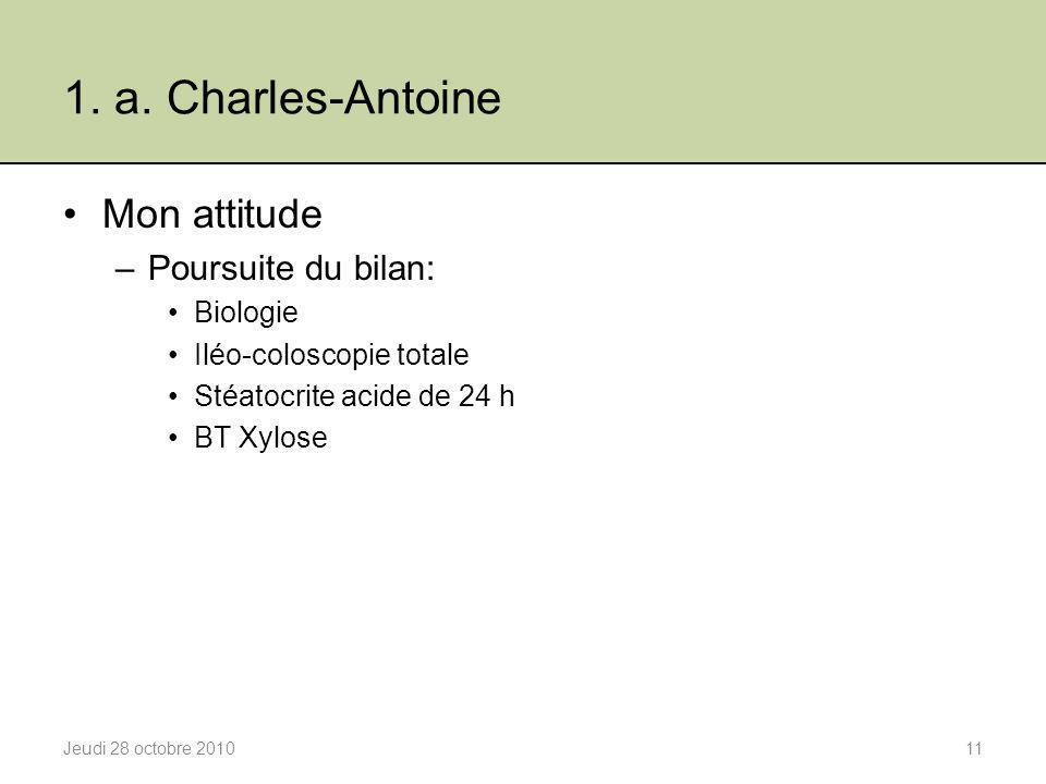 1. a. Charles-Antoine Mon attitude Poursuite du bilan: Biologie