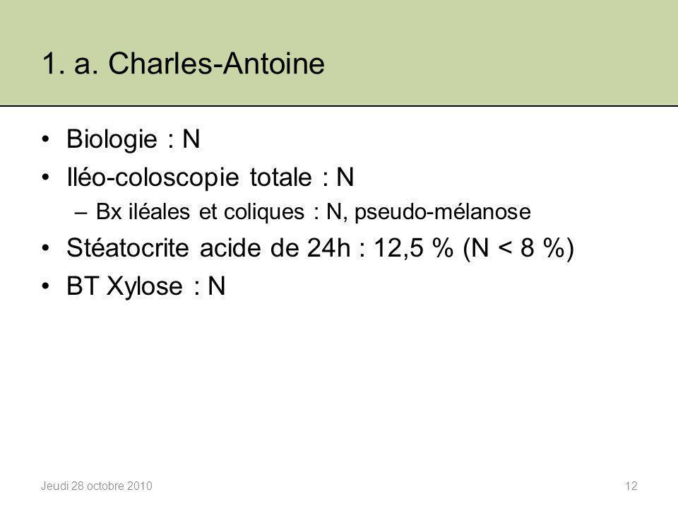 1. a. Charles-Antoine Biologie : N Iléo-coloscopie totale : N