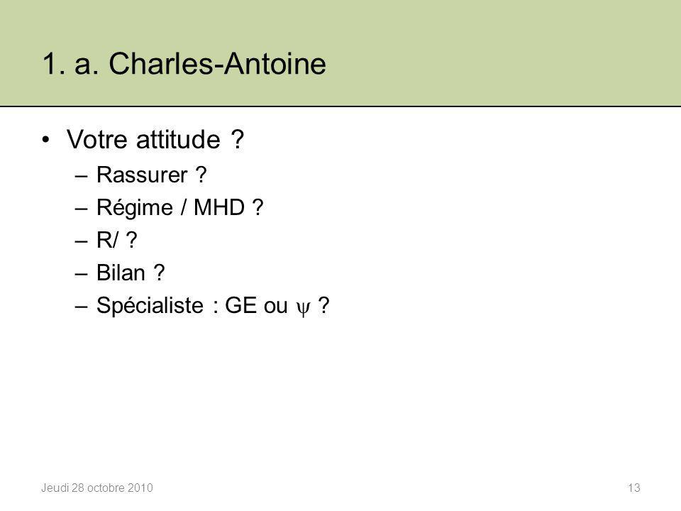 1. a. Charles-Antoine Votre attitude Rassurer Régime / MHD R/