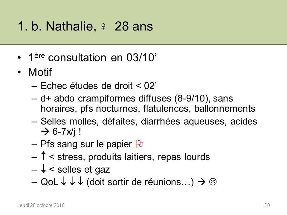 1. b. Nathalie, ♀ 28 ans 1ère consultation en 03/10' Motif