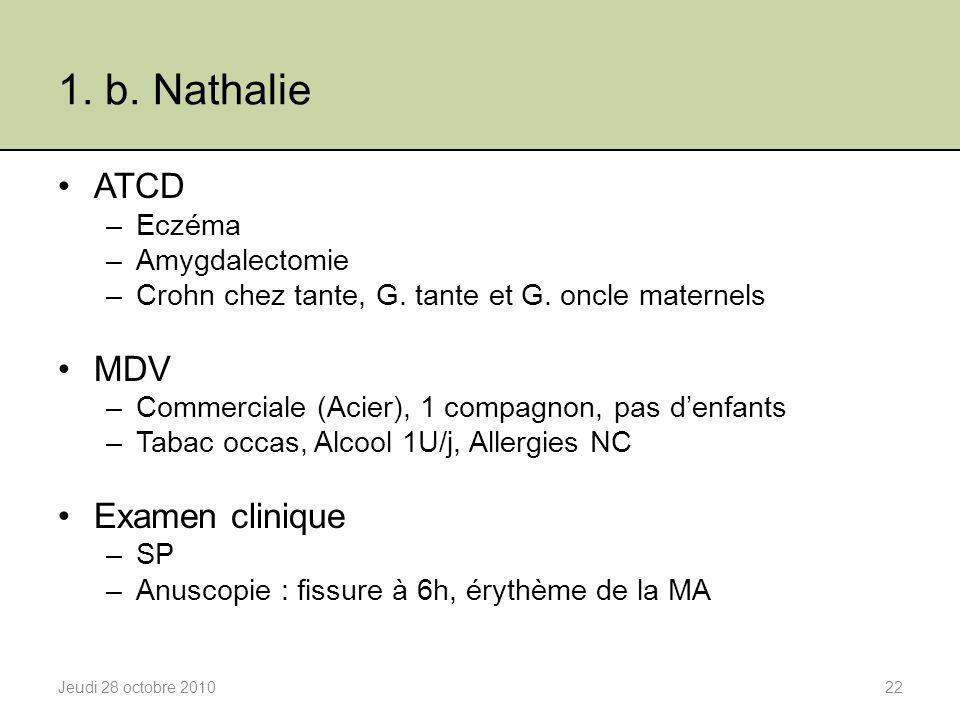 1. b. Nathalie ATCD MDV Examen clinique Eczéma Amygdalectomie