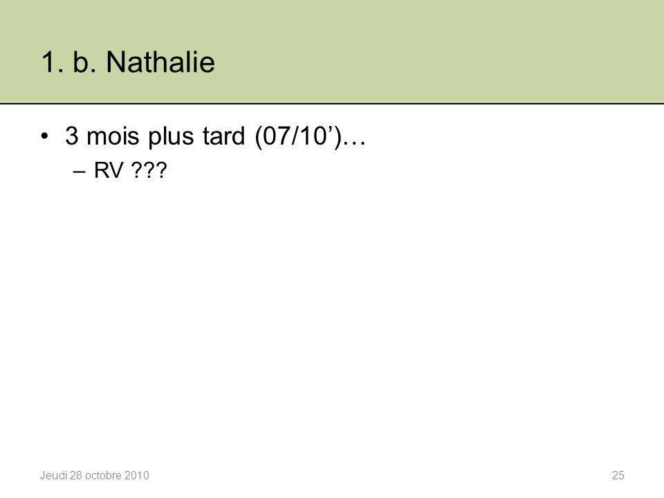 1. b. Nathalie 3 mois plus tard (07/10')… RV Jeudi 28 octobre 2010